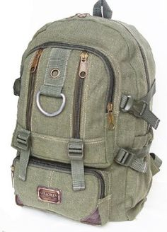 0aed9c8a8 Amazon.com: Military Inspired Canvas Backpack Bookbag Olive Drab: Sports &  Outdoors 19 x 14 x 6