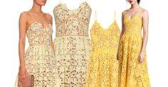 Lace dress by Self-Portrait versus yellow lace dress by H&M