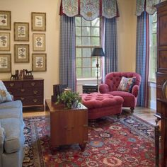 Sitting Room - draperies, colors - - Knight Carr Interiors