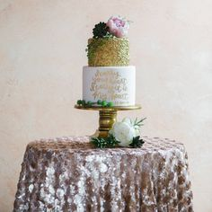 Champagne Sequin Tablecloth | Sequin Table Linen | Sequin Cake Table Linens Inspiration #champagne_sequin #Housewares #ivory_sequin