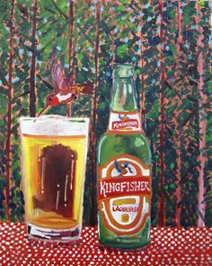 Beer Painting of Kingfisher Lager Beer. Year of Beer Paintings - Day 265.