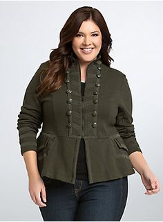 """<p>Suit up! This army green military jacket demands it. While the style may be all structure, the knit fabric keeps you in your comfort zone. With tonal buttons and textured trim framing the zip front, sleeves, and back. A split back adds some flare.</p> <p> </p> <p><b>Model is 5'9"""", size 1</b></p> <ul> <li>Size 1 measures 27 1/4"""" from shoulder</li> <li>Cotton</li> <li>Wash cold, dry low</li> <li>Imported plus size jacket</li> </ul>"""