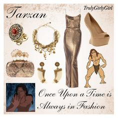 """""""Disney Style: Tarzan"""" by trulygirlygirl ❤ liked on Polyvore featuring Office, Alexander McQueen, House of Harlow 1960, Dolce&Gabbana, tarzan and disney"""