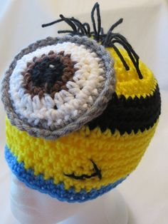 DISPICABLE ME CROCHET Hat/Beanie * MiNioN Crochet Hat * One/Eyed MinioN * InFant to ADuLT