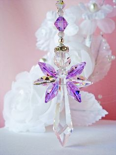 Crystal Angel Suncatcher Rear View Mirror Car Charm Swarovski Violet Car Ornament Accessories