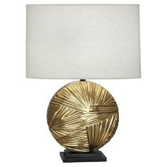 Robert Abbey Michael Berman Frank Modern Brass One Light Table Lamp With Oyster Linen Shade 2017 Table Lamp Base, Light Table, Robert Abbey Lighting, Contemporary Table Lamps, Lamp Sets, Drum Shade, One Light, Lamp Design, Modern