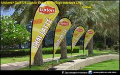 Unilever Gulf FZE, sponsored the World Cup Football Tent at the Internet City, Dubai for the whole month. Tear Drop Flags were produced with the Lipton Chai Latte branding and the Lipton Green Tea branding for the event and placed at the venue.