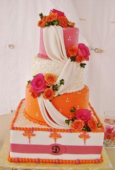 Pink And Orange Wedding Cake Designs