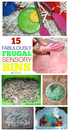 15 Frugal Sensory Bin or Tub ideas. Be inspired by these low cost or no cost ideas for kids sensory bins. You don't need to go out and buy materials just take a different look at what you already have in your home for fun kids activities