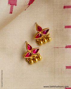 Earrings – Page 6 – Modern Jewelry Ruby Jewelry, India Jewelry, Kids Jewelry, Gold Jewelry, Gold Earrings Designs, Gold Jewellery Design, Jewelry Patterns, Ruby Red, Modern Jewelry