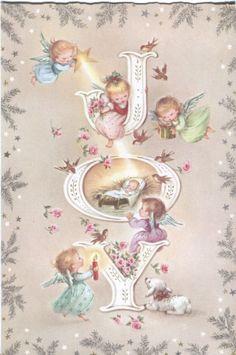 Vintage Christmas Card Angels Birds Lamb at Manger | eBay