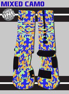 Mixed Camo Custom Nike Elite Socks - Orange, Blue, and Mint