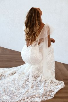 Peony wedding dress by Emmy Mae Bridal! Tulle wings and floral lace. to die for. Designer Wedding Dresses, Bridal Dresses, Wedding Dreams, Dream Wedding, Tulle Bows, Dress Hairstyles, Pinterest Pin, Peony, Dress Ideas