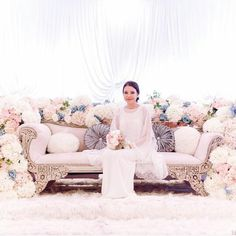All Details You Need to Know About Home Decoration - Modern All White Wedding, Wedding Prep, Floral Wedding, Wedding Colors, Wedding Reception Backdrop, Wedding Stage, Dream Wedding, Our Wedding, Malay Wedding Dress