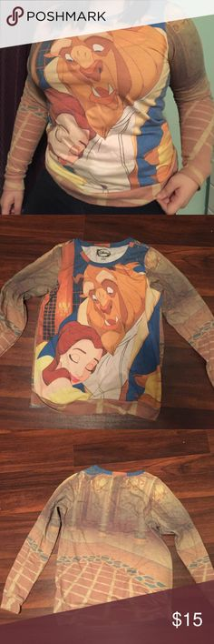 Disney beauty and the beast crewneck sweatshirt Thin sweatshirt material, most suitable for fall/spring with all over print, worn only a couple of times. Xl fits more like a large Disney Sweaters Crew & Scoop Necks