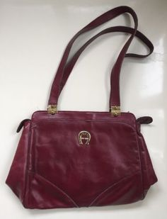 9d9fcb257f Vintage Etienne Aigner Oxblood Leather Shoulder Bag Handbag 1970s Vtg