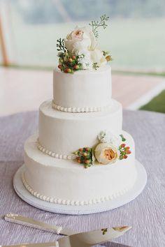 classic wedding cake, photo by Jon Schaaf Photography http://ruffledblog.com/intimate-charlottesville-wedding #weddingcake #cakes