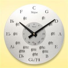 Metal Round Music Wall Clock at The Music Stand