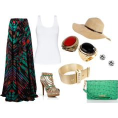I want this long skirt! The whole outfit is amazing!