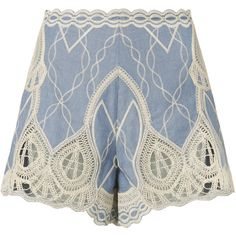 Chambray Crochet Embroidered Shorts (990 AED) ❤ liked on Polyvore featuring shorts, light denim, scallop hem shorts, blue shorts, high rise shorts, high waisted crochet shorts and embroidered shorts