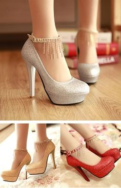 Cheap Elegant Women's Pumps With Sequins and Chains Design
