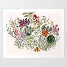 Succulents  Art Print by Hannah Margaret Illustrations. Worldwide shipping available at Society6.com. Just one of millions of high quality products available.