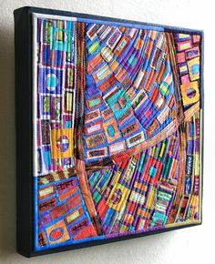 Art quilt 12 x12 mounted on frame