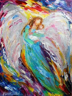Original oil painting Angel and Baby in Arms by Karensfineart
