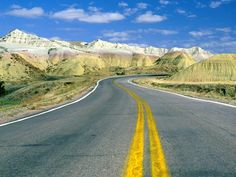 Roadscape, Badlands National Park, South Dakota, USA