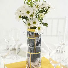 Use photos from your life together for a fun and personal centerpiece: http://www.bhg.com/wedding/centerpieces/easy-to-make-wedding-centerpieces/?socsrc=bhgpin072514personalizedphotocenterpiece&page=9
