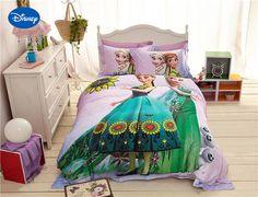 Bedding Disney Frozen Comforter Cover Set Sanding Cotton Bed Linens Princess Elsa Anna Print Cartoon Bedclothes Single Twin Queen Size Home & Garden