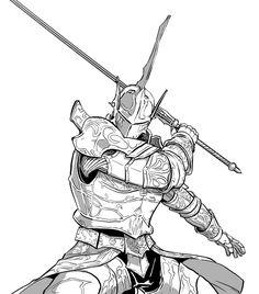 Demon's Souls: Penetrator by MenasLG Fantasy Character Design, Character Design Inspiration, Character Art, Knight Drawing, Knight Art, Inspiration Drawing, Fantasy Inspiration, Medieval Armor, Medieval Fantasy