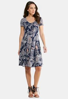 Cato Fashions Plus Size Seamed Floral Puff Paisley Dress #CatoFashions