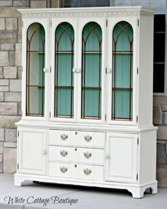 Beautiful Restored Blue & Cream Hutch!