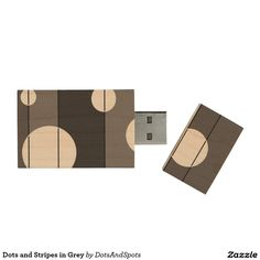 Dots and Stripes in Grey Wood USB 2.0 Flash Drive