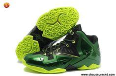 Pas cher Noir Vert Volt Nike Lebron XI (11) Lebron James Shoes 2013