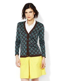 Jacquard Ming Ceramic Cardigan by Marni. I would never spend that much money on a cardigan, but it sure is pretty!