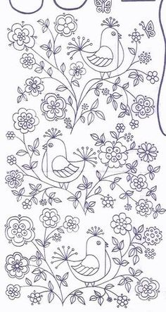 Vintage bird embroidery transfer. FREE embroidery pattern- Birds and flowers: