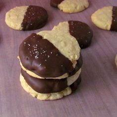 Chocolate-dipped Potato Chip Cookies!  If you haven't tried Potato Chip cookies...you're in for a treat!  They have the taste and texture of shortbread.