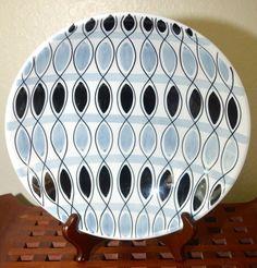 Large Vintage Arabia Finland Decorative Bowl - Grey-Blue and Black