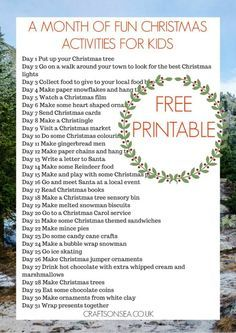 A Month of Fun Christmas Activities For Kids: Free Printable - Crafts on Sea
