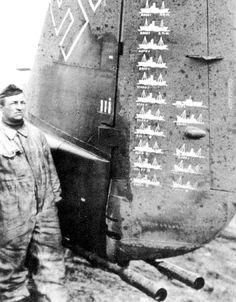 A German Junkers Ju88 pilot showing his confirmed enemy vessels sunk.
