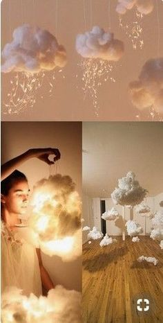"DIY Lampen Wolken aus Watte Fotografie Idee Porträt Foto Hack Inspiration boy first"" girl names nursery stuff Home Crafts, Diy And Crafts, Cute Diy Crafts For Your Room, Baby Crafts, Diy Bebe, Pinterest Diy, Light Art, Diwali, Diy Room Decor"