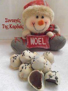 ΣΥΝΤΑΓΕΣ ΤΗΣ ΚΑΡΔΙΑΣ: Σοκολατάκια με άσπρη σοκολάτα και νουτέλα Christmas Eve, Christmas Recipes, White Chocolate, Fudge, Nutella, Snowman, Sweet Tooth, Food And Drink, Teddy Bear