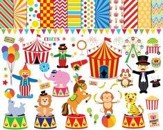 56 Circus clipart circus clip art clowns clipart by JaneJoArt Circus Birthday, Circus Theme, Circus Party, Carnival Themes, Circus Train, Carnival Classroom, Circo Do Mickey, Monocycle, Ideas Party