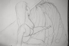 Surf Art Process 1 pencil on 18 inch x 24 inch linen canvas