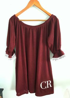 Check out this item in my Etsy shop https://www.etsy.com/listing/453159356/monogrammed-dress-lace-trim-football