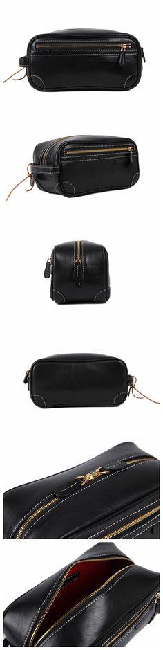 Handmade Italian Full Grain Vegetable Tanned Leather Pouch Bag Clutch Bag Comestic Bag