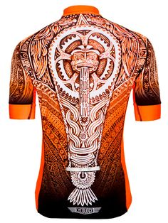 Aztec Fluoro Orange Mens Cycling Jersey from Cycology.