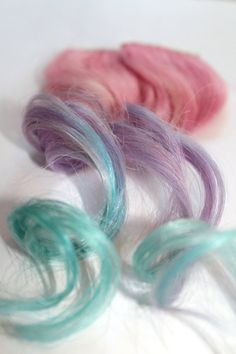 Clip In Human Hair Extensions // Dip Dyed Ombre Hair Extension // Pastel Pink, Violet, and Blue // 14inch Hair Extensions